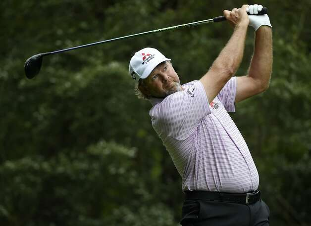Retief Goosen tees off on the fifth hole during the first round of the Insperity Invitational golf tournament, Saturday, May 1, 2021, in The Woodlands, TX. Photo: Eric Christian Smith/Contributor