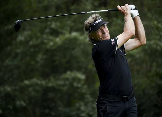 Bernhard Langer tees off on the fifth hole during the first round of the Insperity Invitational golf tournament, Saturday, May 1, 2021, in The Woodlands, TX. Photo: Eric Christian Smith/Contributor