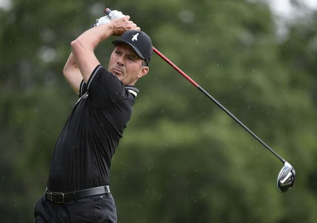 Mike Weir tees off on the first hole during the first round of the Insperity Invitational golf tournament, Saturday, May 1, 2021, in The Woodlands, TX. Photo: Eric Christian Smith/Contributor