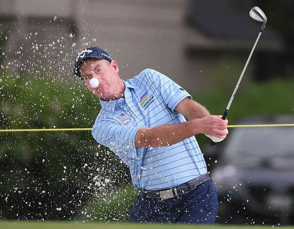 Jim Furyk blasts out of a green side bunker on the first hole during the first round of the Insperity Invitational golf tournament, Saturday, May 1, 2021, in The Woodlands, TX. Photo: Eric Christian Smith/Contributor