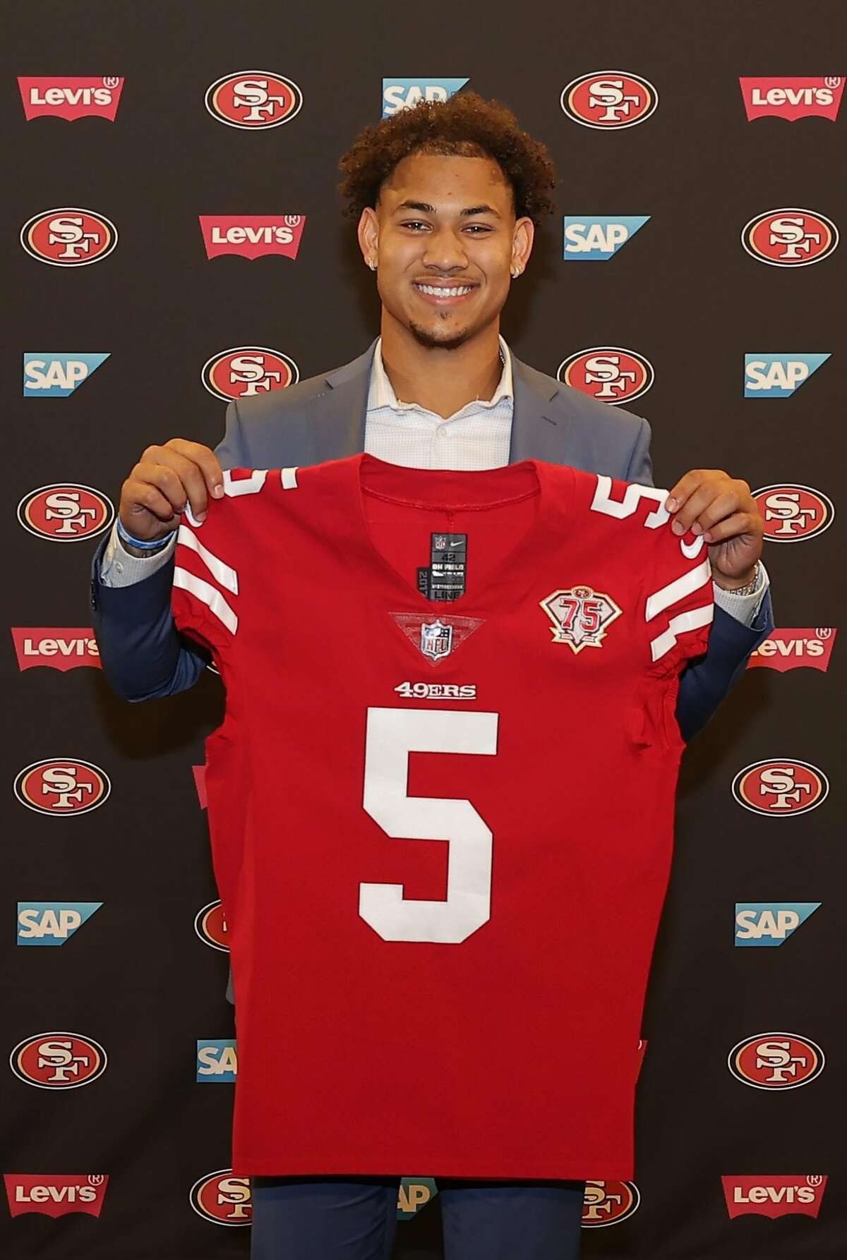 49ers first-round pick Trey Lance debuted Friday at team headquarters in San Jose.
