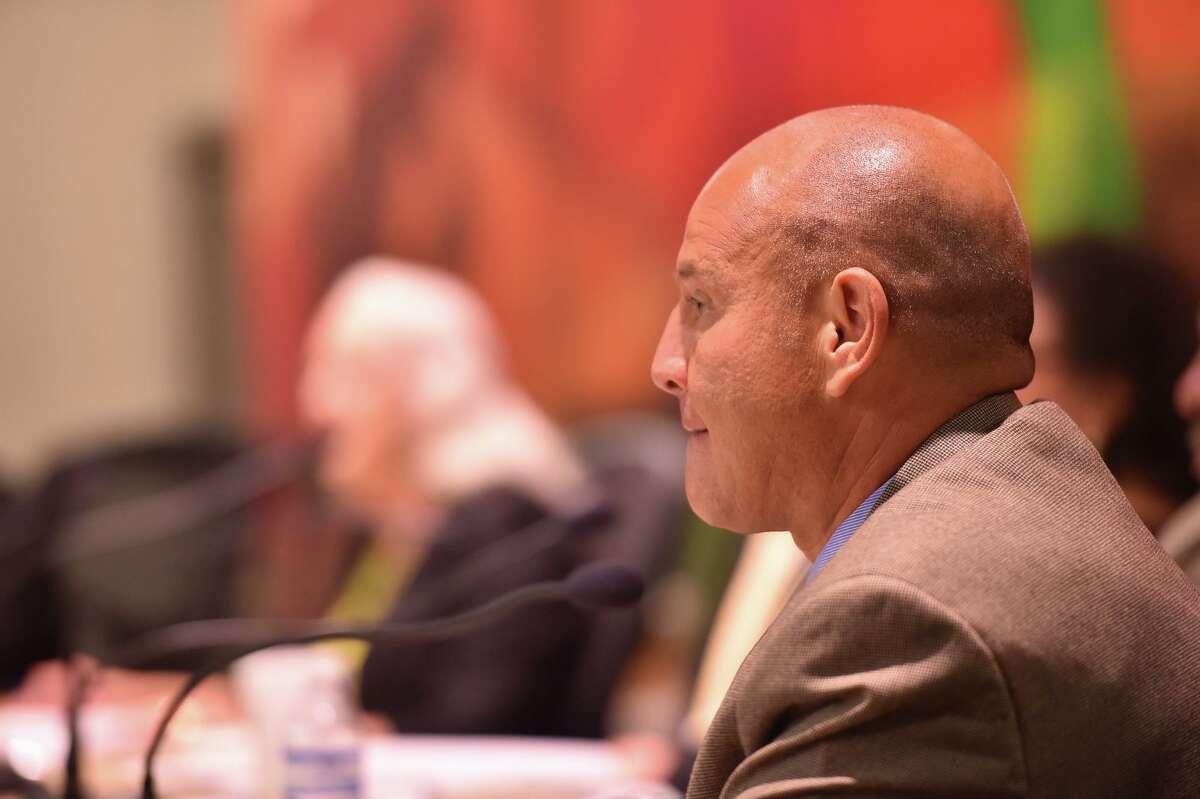 SAISD trustee Ed Garza listens at a board meeting in this 2018 file photo.