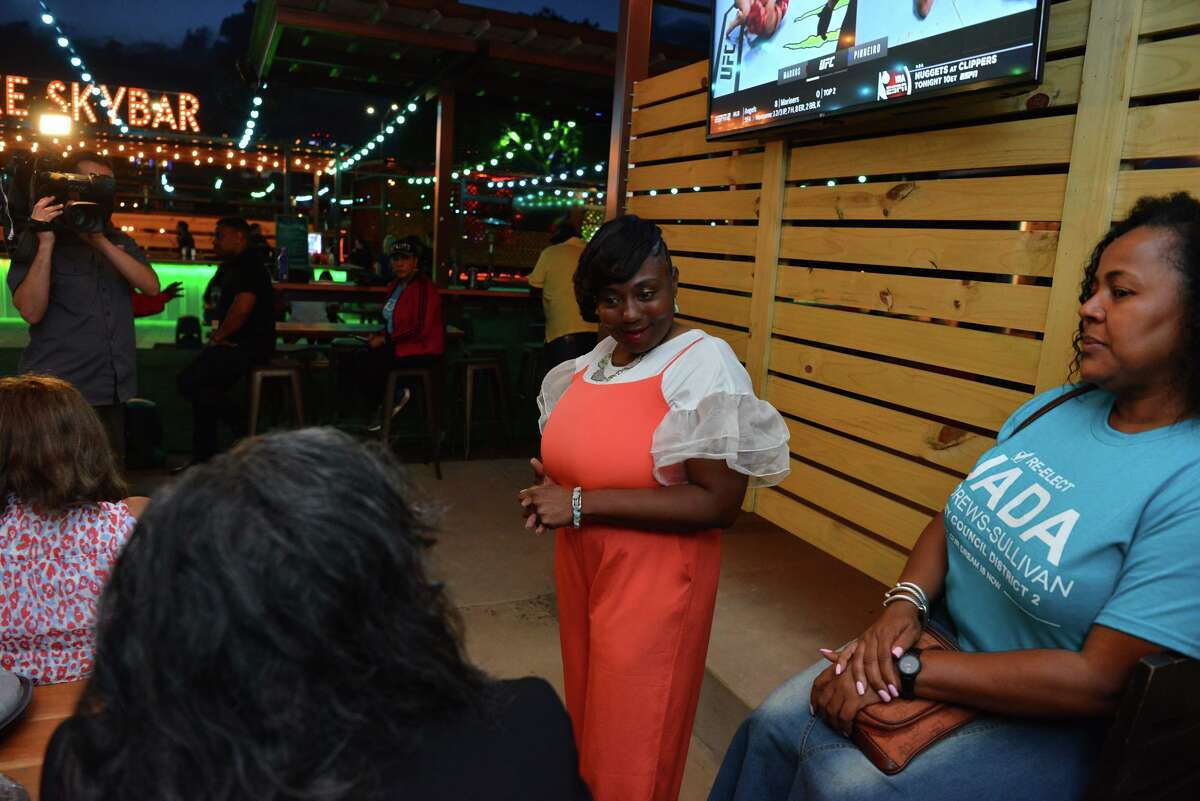 Jada Andrews-Sullivan greets supporters after the polls closed for the district 2 city council race.