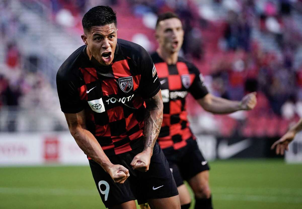 San Antonio FC forward Santiago Patino celebrates during a match against Colorado Springs Switchbacks on Saturday, May 1, 2021, at Toyota Field in San Antonio.