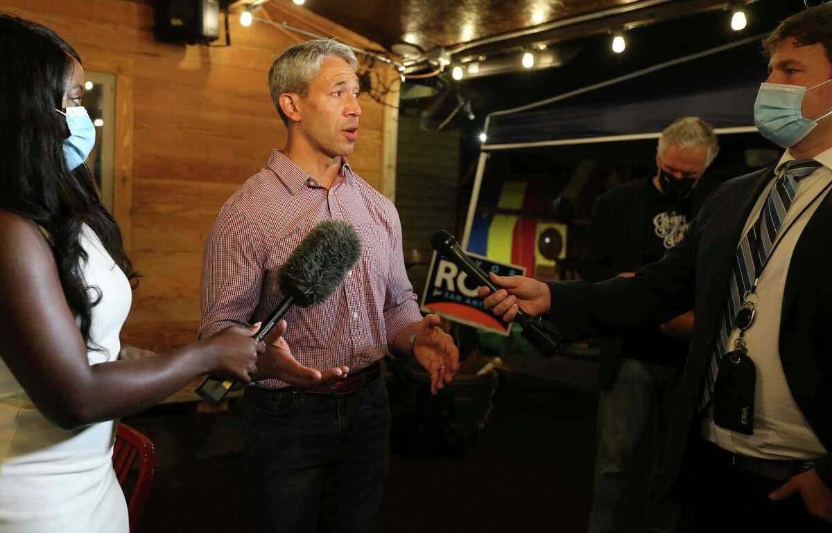 Mayor Ron Nirenberg gets interviewed at his campaign party on Saturday, May 1, 2021. He and former City Councilman Greg Brockhouse were watching election results from their respective campaign headquarters. Nirenberg, who is running for his third term, defeated Brockhouse who was trying for a second time to unseat Nirenberg for mayor of San Antonio.