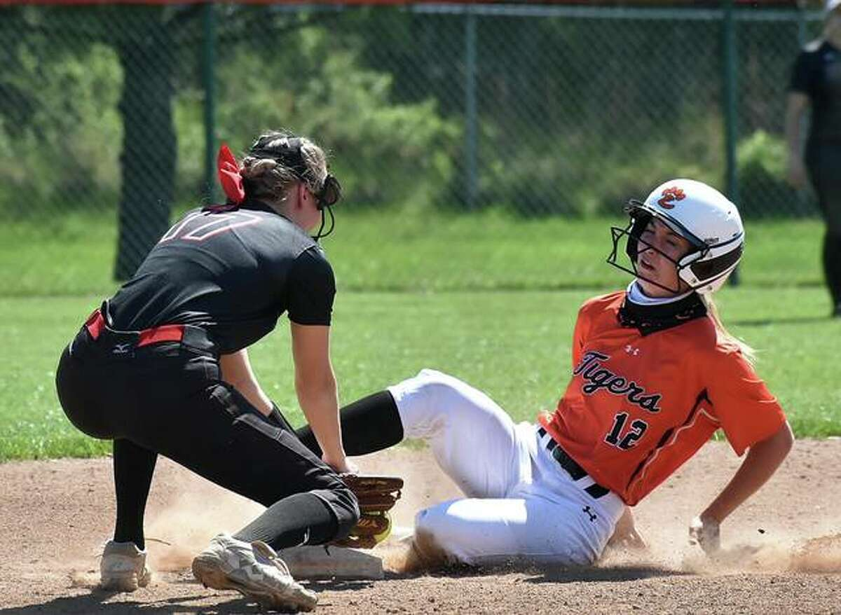 Edwardsville's Maci McNamee slides safely into second base for a stolen base against Calhoun during Saturday's game inside the District 7 Sports Complex.
