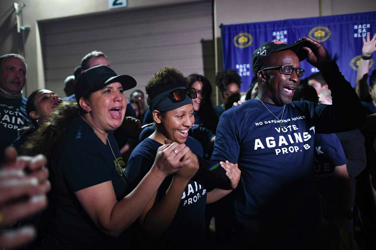 Opponents of Proposition B celebrate the defeat of the charter amendment, which would have stripped the San Antonio police union of its right to collectively bargain with the city. The celebration on May 1, 2021, was held at Blue Cares, the nonprofit community outreach arm of the San Antonio Police Officers Association.