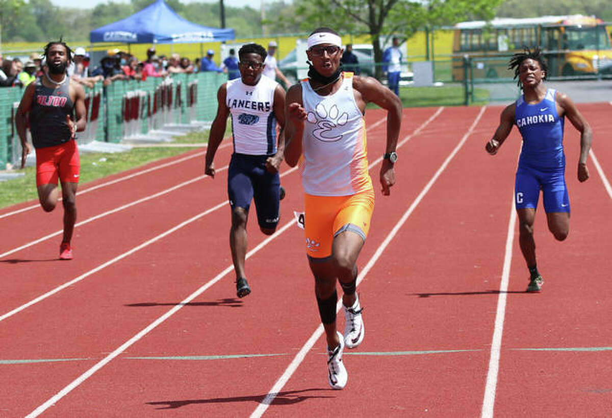 Edwardsville's Brandon Battle nears the finish line in the 200-meter run at the Norm Armstrong Invitational on Saturday at Belleville West in Belleville.