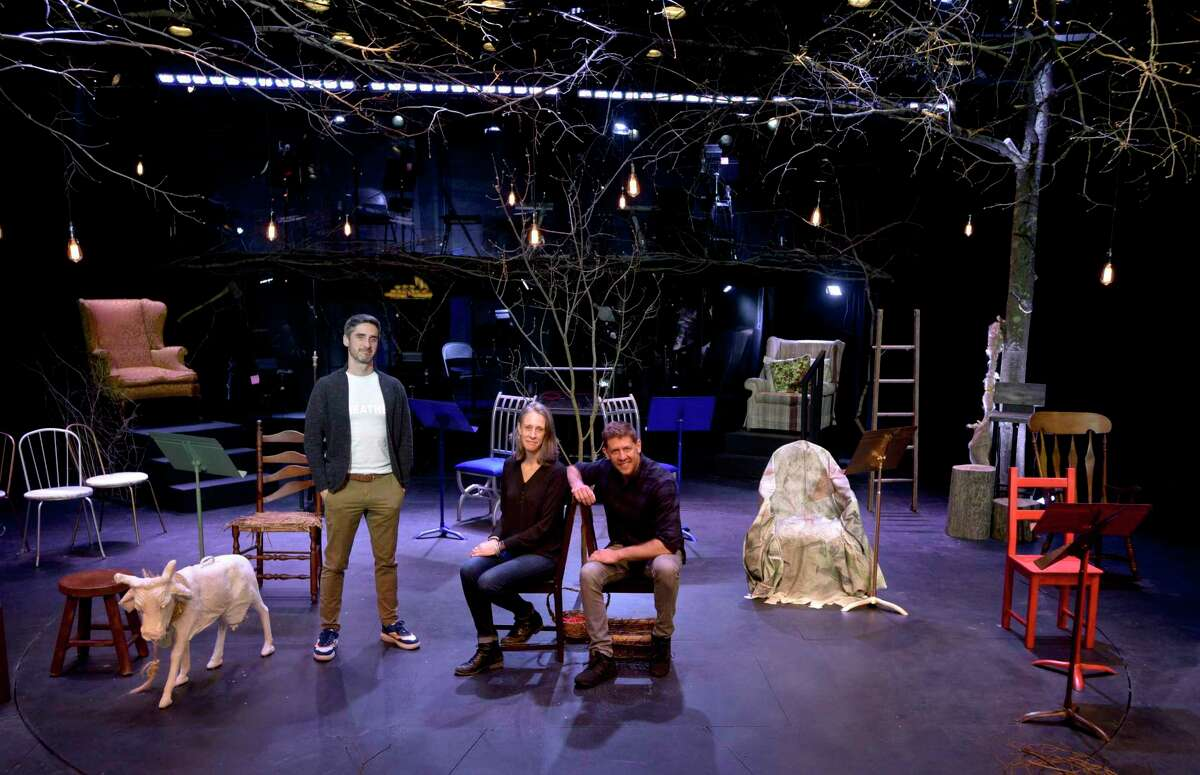 """Music Supervisor and Conductor Bryan Perri, left, Producing Director Erin Craig and Artistic Director Daniel C. Levine of ACT of CT provide a behind-the-scenes look of the nonprofit's latest production, """"Into the Woods - In Concert."""""""