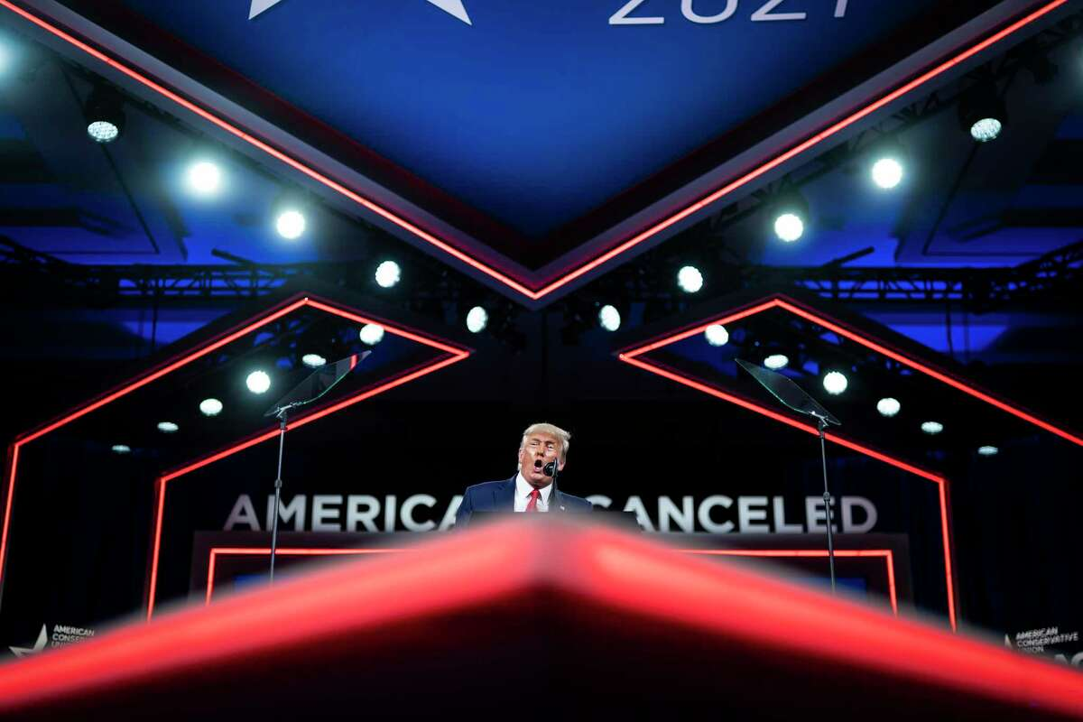 Former president Donald Trump speaks during the final day of the Conservative Political Action Conference held at the Hyatt Regency Orlando on Feb. 28.