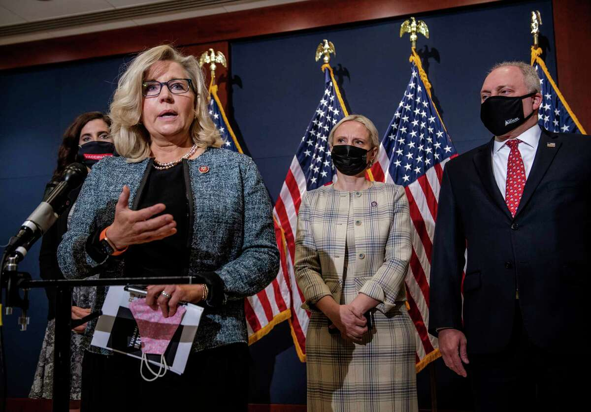 Rep. Liz Cheney, R-Wyo., second from left, joins Rep. Nancy Mace, R-S.C., left; Rep. Victoria Spartz, R-Ind., second from right; and Rep. Steve Scalise, R-La., the House minority whip, on April 20.