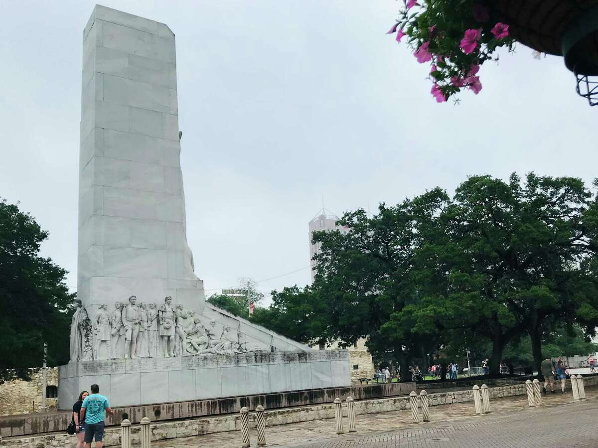 The massive Alamo Cenotaph, erected on Alamo Plaza in 1936, has been the subject of controversy for years.