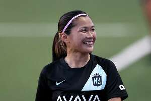 MONTCLAIR, NEW JERSEY - APRIL 20:  Nahomi Kawasumi #9 of NJ/NY Gotham FC reacts to fans after she is pulled from the game in the second half against the North Carolina Courage on April 20, 2021 and MSU Soccer Park in Montclair, New Jersey.The NJ/NY Gotham FC defeated the North Carolina Courage 4-3.