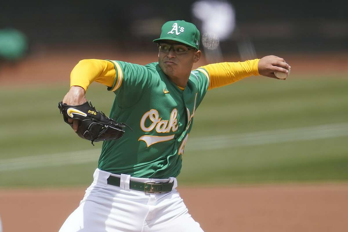 Oakland Athletics' Jesus Luzardo pitches against the Baltimore Orioles during a baseball game in Oakland, Calif., Saturday, May 1, 2021. (AP Photo/Jeff Chiu)