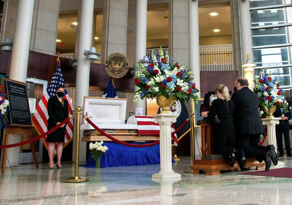 The late Honorable Judge George P. Kazen lies in state at the rotunda of the George P. Kazen Federal Building and United States Courthouse on Saturday, May 1, 2021 as mourners pay their respects during a memorial service.