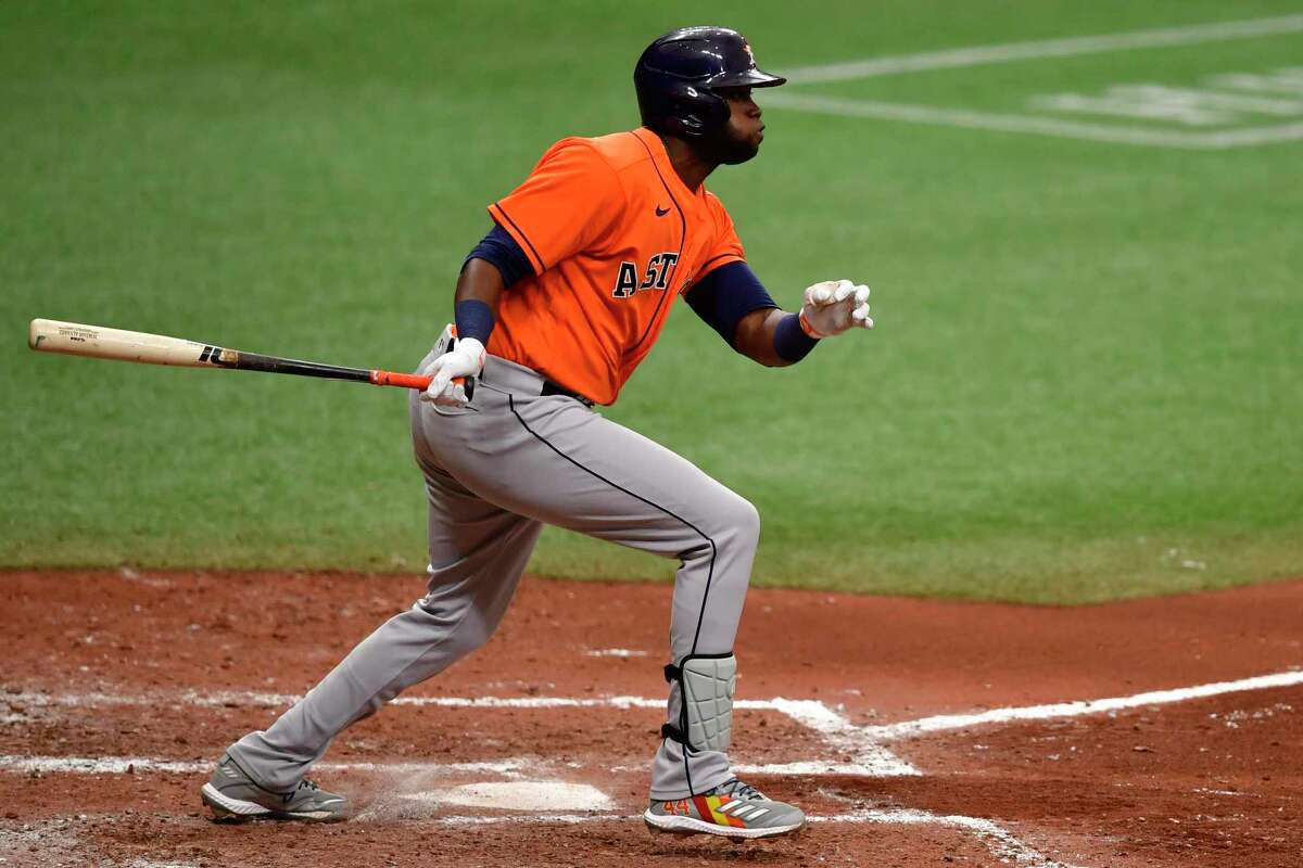 ST PETERSBURG, FLORIDA - MAY 02: Yordan Alvarez #44 of the Houston Astros hits a double during the sixth inning against the Tampa Bay Rays at Tropicana Field on May 02, 2021 in St Petersburg, Florida.