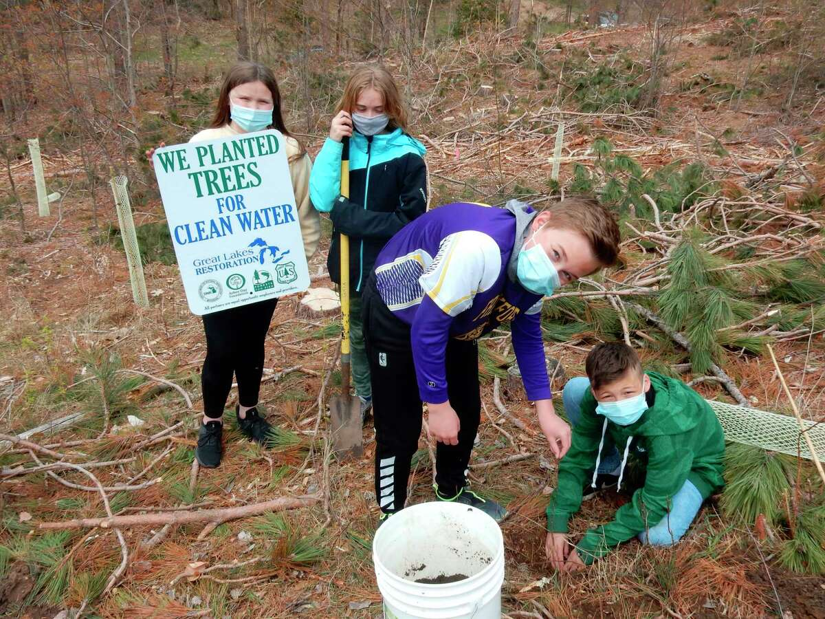Students from Frankfort Elberta Area Schools planted tulip poplar trees on about 20 acres of land owned by the school that has recently been forested. (Courtesy Photo)