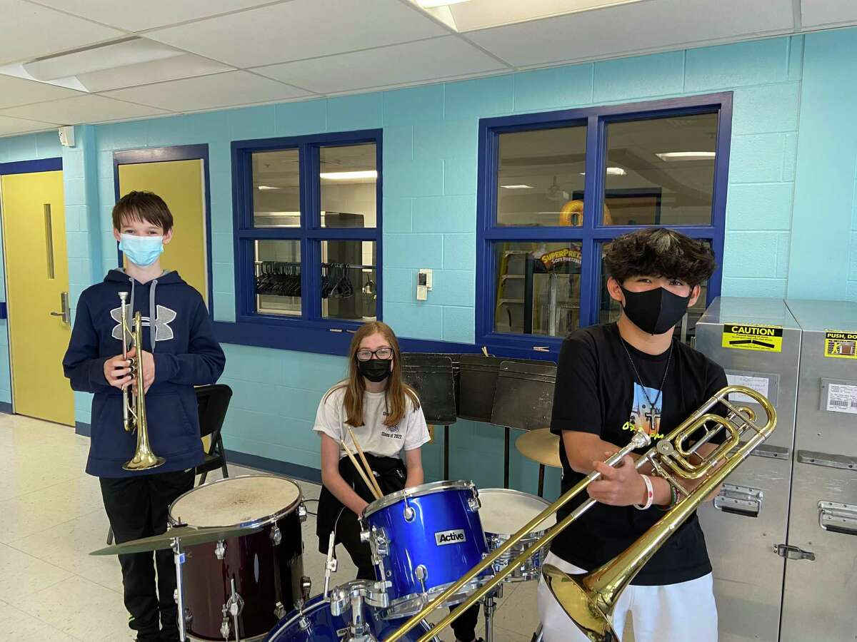 From left, Alexander Ostrosky, trumpet and jazz trumpet, Hanna Rich, jazz drum set and mallets (percussion) and Michael Clancy, trombone and jazz trombone.
