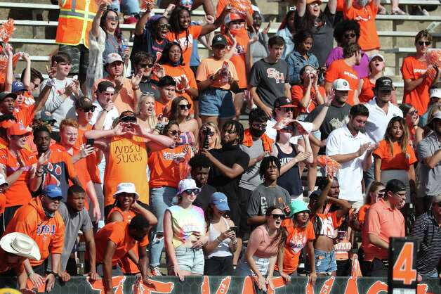 Sam Houston State fans cheer during a quarterfinal game in the NCAA FCS football playoffs again North Dakota State on Sunday, May 2, 2021, in Huntsville. Sam Houston advanced to the semifinals with a 24-20 win. Photo: Brett Coomer, Staff Photographer / © 2021 Houston Chronicle