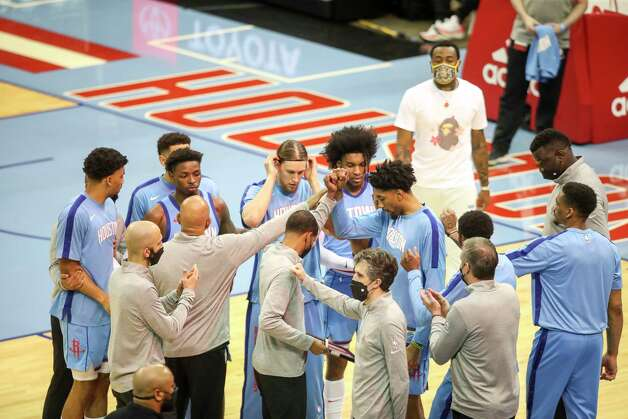 Houston Rockets huddle before an NBA game Sunday, May 2, 2021, at the Toyota Center in Houston. Photo: Jon Shapley, Staff Photographer / © 2021 Houston Chronicle