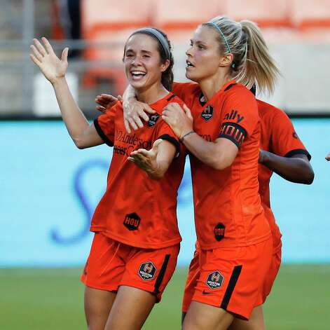 HOUSTON, TX - MAY 2: Houston Dash midfielder Shea Groom (6) celebrate with forward Rachel Daly (3) after scoring in the first half during a women's soccer game at BBVA Stadium May 2, 2021 in Houston, Texas. (Photo by Bob Levey/Contributor) Photo: Bob Levey, Houston Chronicle / 2021 Bob Levey
