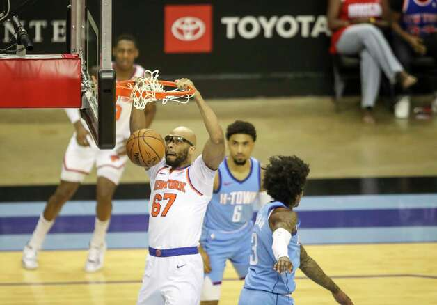New York Knicks center Taj Gibson (67) dunks the ball during the first quarter of an NBA game Sunday, May 2, 2021, at the Toyota Center in Houston. Photo: Jon Shapley, Staff Photographer / © 2021 Houston Chronicle