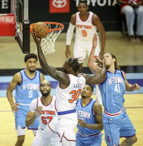 New York Knicks forward Julius Randle (30) drives to the basket during the first quarter of an NBA game Sunday, May 2, 2021, at the Toyota Center in Houston. Photo: Jon Shapley, Staff Photographer / © 2021 Houston Chronicle