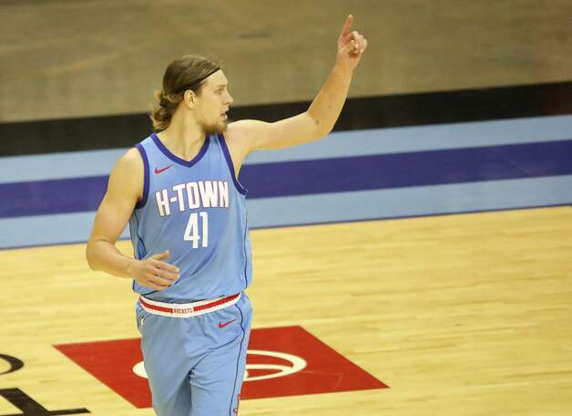 Houston Rockets forward Kelly Olynyk (41) celebrates after scoring during the second quarter of an NBA game Sunday, May 2, 2021, at the Toyota Center in Houston. Photo: Jon Shapley, Staff Photographer / © 2021 Houston Chronicle