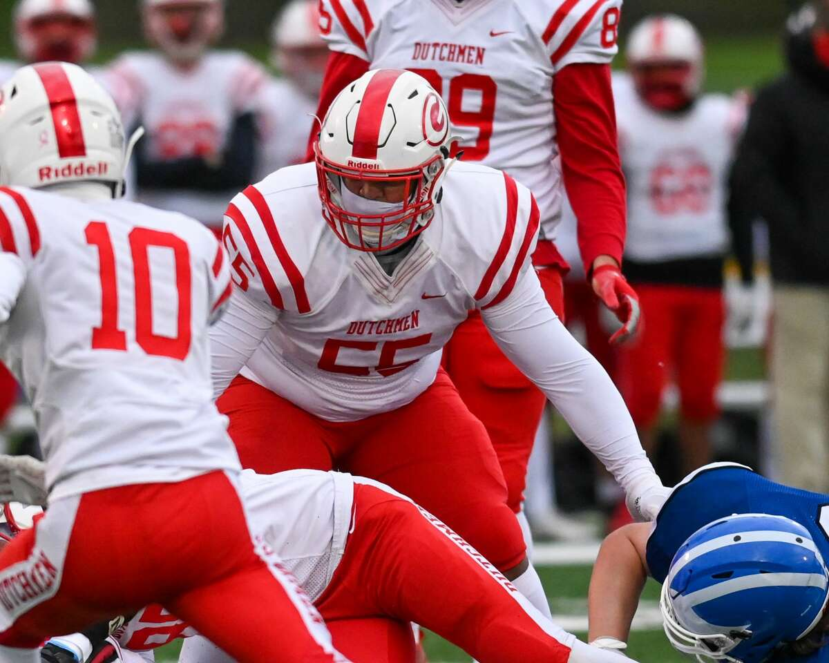 Paris Hart is a two-way lineman for Class AA champion Guilderland. (James Franco / Special to the Times Union)