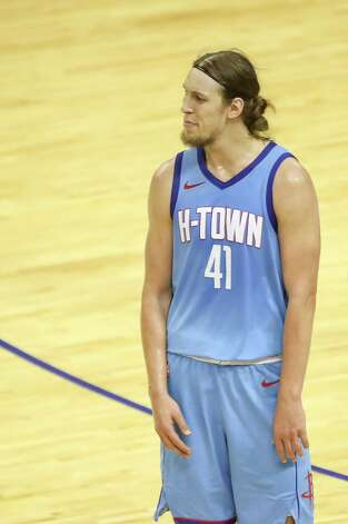 Houston Rockets forward Kelly Olynyk (41) reacts to a foul call during the third quarter of an NBA game Sunday, May 2, 2021, at the Toyota Center in Houston. Photo: Jon Shapley, Staff Photographer / © 2021 Houston Chronicle
