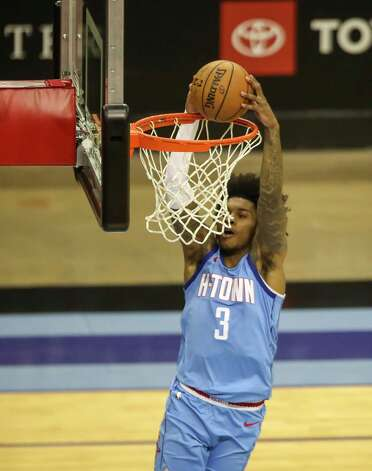 Houston Rockets guard Kevin Porter Jr. (3) drives to the basket during the third quarter of an NBA game Sunday, May 2, 2021, at the Toyota Center in Houston. Photo: Jon Shapley, Staff Photographer / © 2021 Houston Chronicle