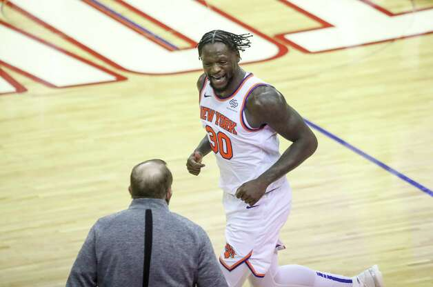 New York Knicks forward Julius Randle (30) ceoebrates after scoring during the third quarter of an NBA game Sunday, May 2, 2021, at the Toyota Center in Houston. Photo: Jon Shapley, Staff Photographer / © 2021 Houston Chronicle