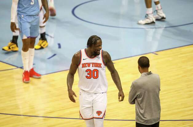 New York Knicks forward Julius Randle (30) talks to the Houston Rockets bench after scoring during the third quarter of an NBA game Sunday, May 2, 2021, at the Toyota Center in Houston. Photo: Jon Shapley, Staff Photographer / © 2021 Houston Chronicle