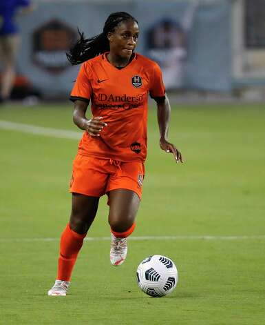 HOUSTON, TX - MAY 2: Houston Dash forward Nichelle Prince (8) rushes the ball up the field against the Portland Thorns FC during a women's soccer game at BBVA Stadium May 2, 2021 in Houston, Texas. The Dash played Portland Thorns FC to a 1-1 draw. Photo: Bob Levey, Houston Chronicle / 2021 Bob Levey