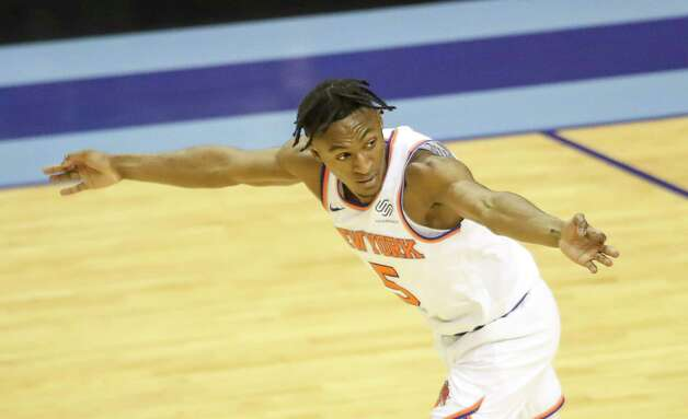 New York Knicks guard Immanuel Quickley (5) celebrates after scoring during the fourth quarter of an NBA game Sunday, May 2, 2021, at the Toyota Center in Houston. Photo: Jon Shapley, Staff Photographer / © 2021 Houston Chronicle