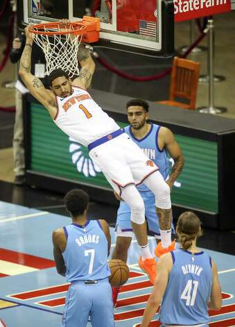 New York Knicks forward Obi Toppin (1) dunks the ball during the fourth quarter of an NBA game Sunday, May 2, 2021, at the Toyota Center in Houston. Photo: Jon Shapley, Staff Photographer / © 2021 Houston Chronicle