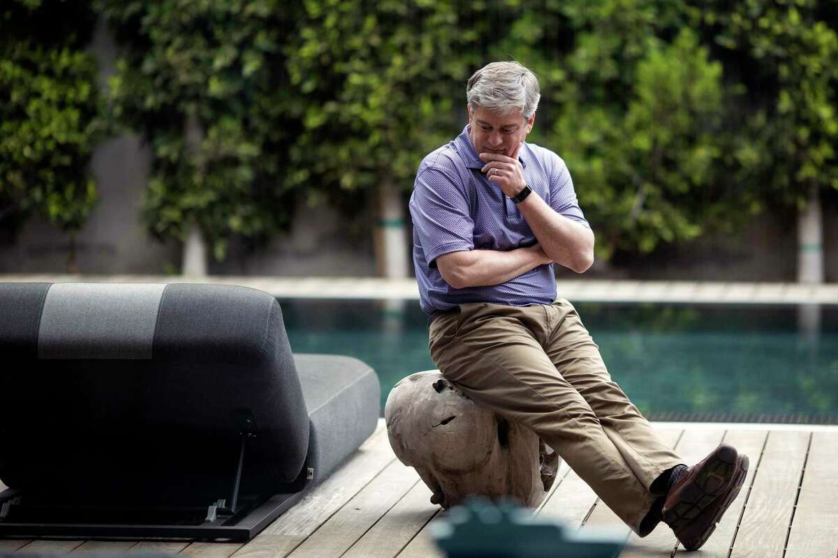 Avelo Air CEO Andrew Levy is photographed in his Beverly Hills home , April 26, 2021. (Photo by Ringo Chiu / For Houston Chronicle)