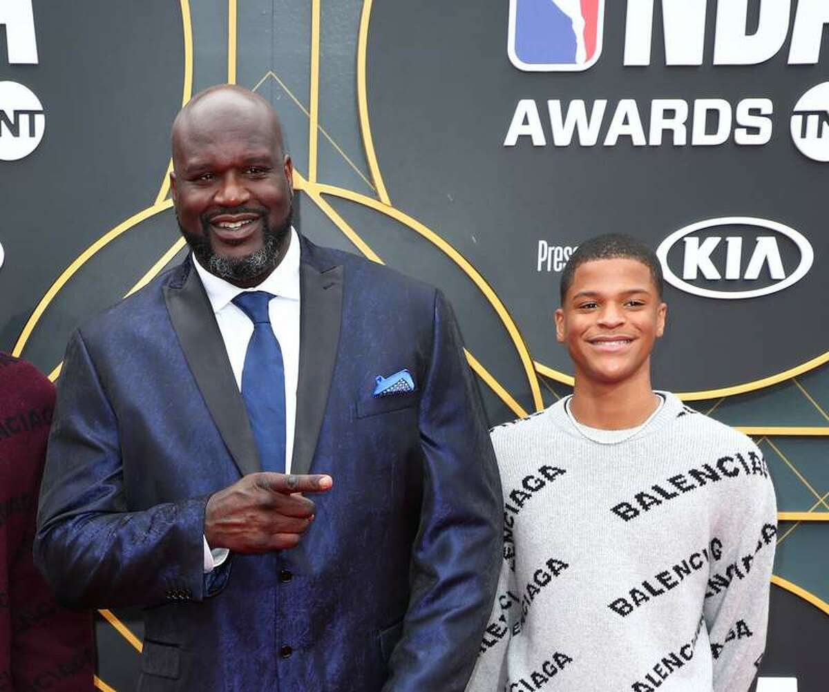 Shaquille O'Neal and Shaqir O'Neal attend the 2019 NBA Awards presented by Kia on TNT at Barker Hangar on June 24, 2019 in Santa Monica, California. (Photo by Joe Scarnici/Getty Images for Turner Sports) (2019 Getty Images)