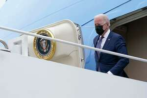 President Joe Biden and first lady Jill Biden arrive at the Newport News/Williamsburg International Airport and will be greeted by Gov. Ralph Northam. D-Va., and his wife Pamela Northam, Monday, May 3, 2021, in Newport News, Va. (AP Photo/Evan Vucci)