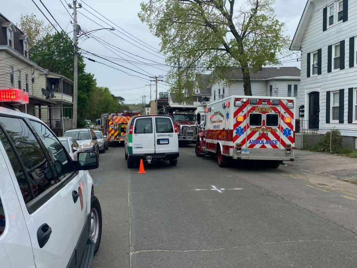 Units on scene for a gas leak in Derby, Conn., on Monday, May 3, 2021.