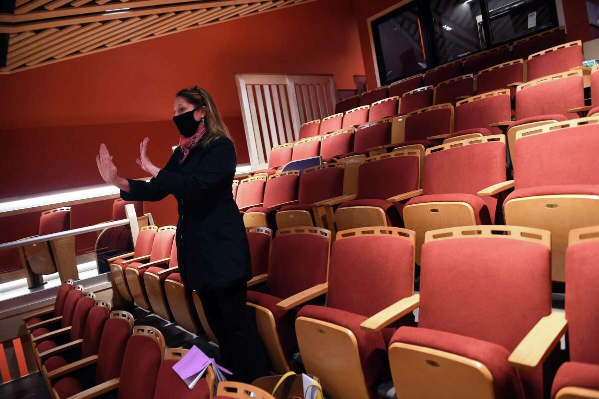 Artistic Director Keely Baisden Knudsen directs a rehearsal of Barefoot in the Park at the Legacy Theatre in Branford.