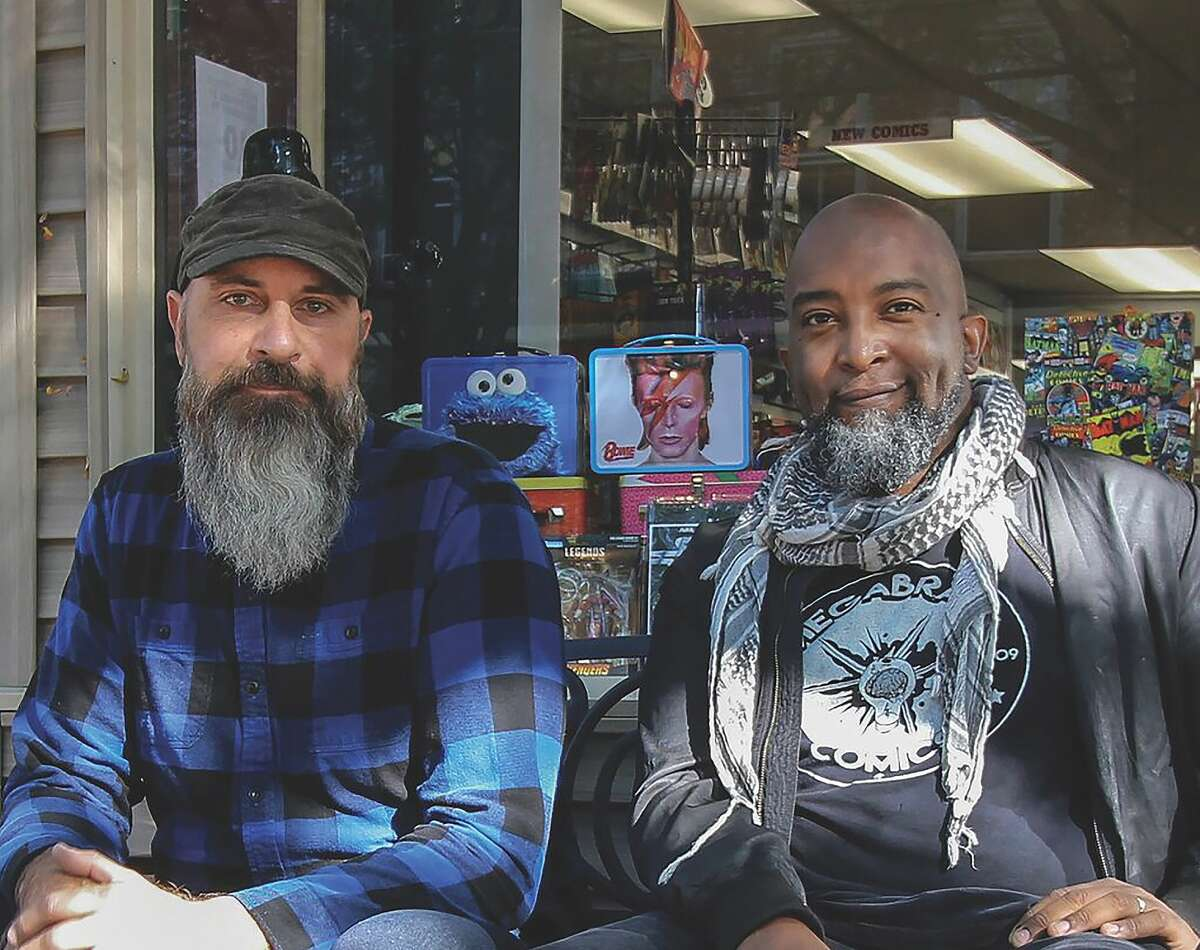 Jean David Michel (right, with Megabrain Comics co-owner Brian Tamm) from the beginning wanted to set a tone of inclusion at Megabrain Comics in Rhinebeck, right down to the well-stocked LGBTQ section, as well as the BIPOC and female-protagonist comic books and graphic novels.