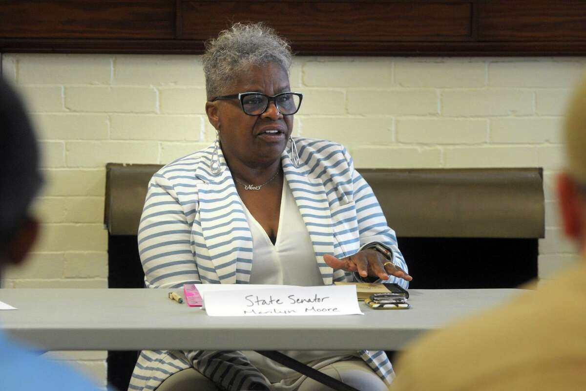 State Sen. Marilyn Moore speaks during a roundtable discussion addressing gun violence held at the Burroughs Community Center, in Bridgeport, Conn. Aug. 9, 2019.