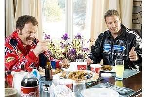 """Product placements abound in this scene from """"Talladega Nights: The Ballad of Ricky Bobby"""" -- fitting for a movie about sponsor-covered race car drivers -- but is it the film where Will Ferrell houses a two-liter bottle of Coke?"""