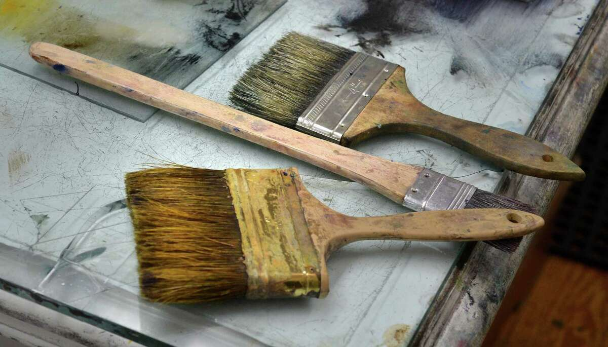 Brushes for applying ink in the Helen Frankenthaler Printmaking Cottage at The Center for Contemporary Printmaking.
