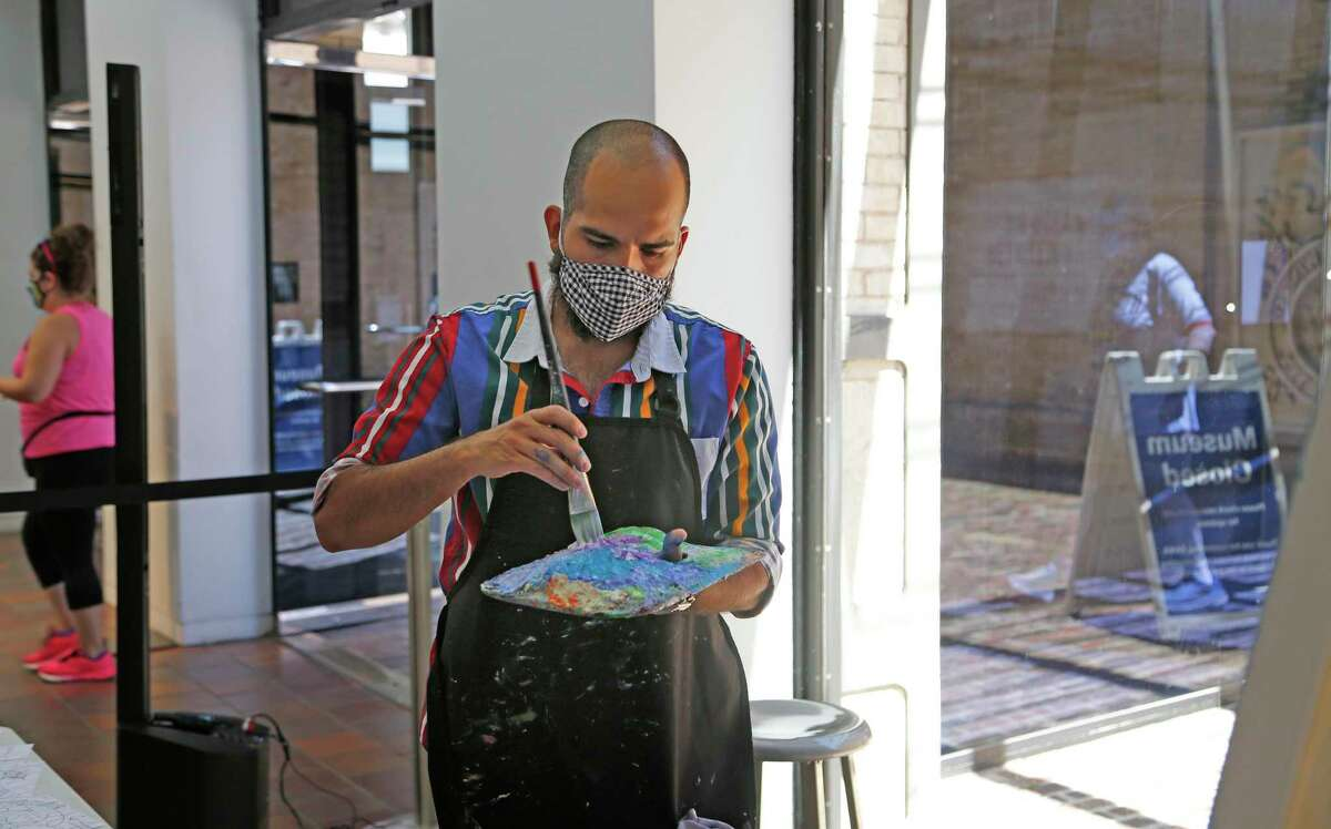 Artist Raul Rene Gonzalez is painting and listening to jazz music for the next two Saturdays at the San Antonio Museum of Art as part of his Jazz in Action residency.