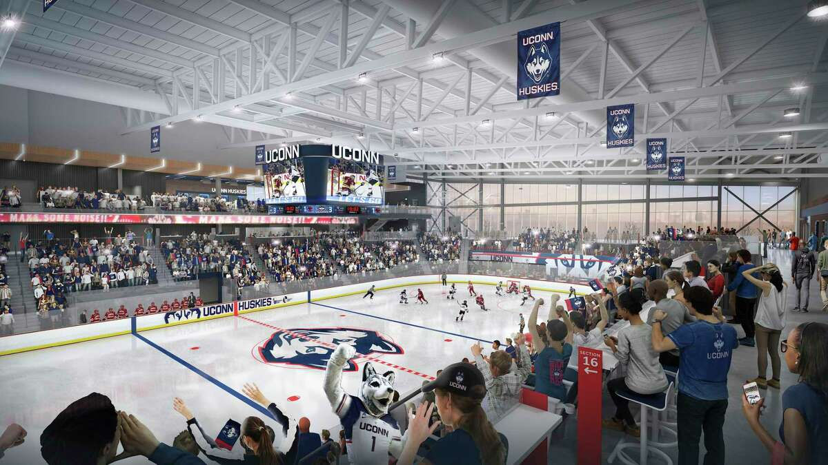 This artist's rendering provided by UConn shows the proposed UConn Hockey Arena approved by the school's board of trustees. The $70 million plan is for a 2,500-seat hockey rink on campus in Storrs, a facility that will be smaller and more expensive than originally anticipated.