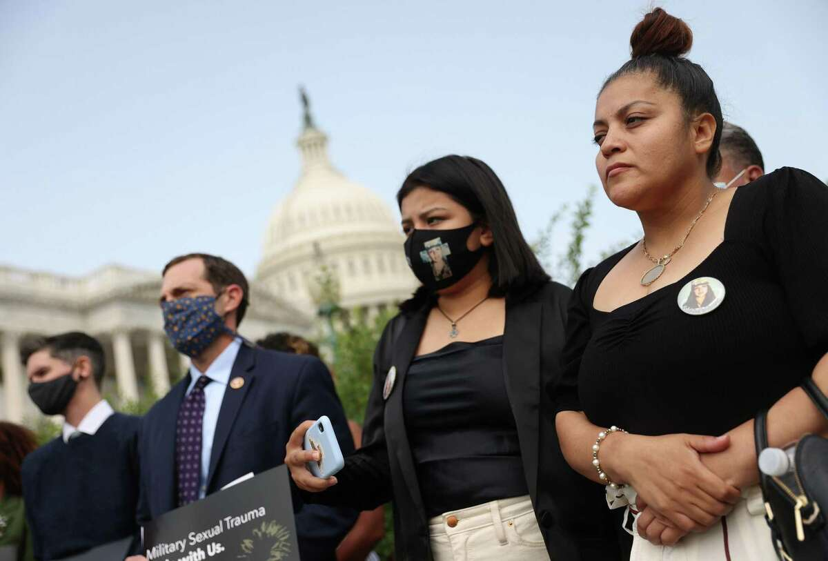 Gloria Guillen, right, mother of Vanessa Guillen, attends a press conference in 2020 outside the U.S. Capitol. It's past time to take sexual assault and harassment investigations outside the military's chain of command.