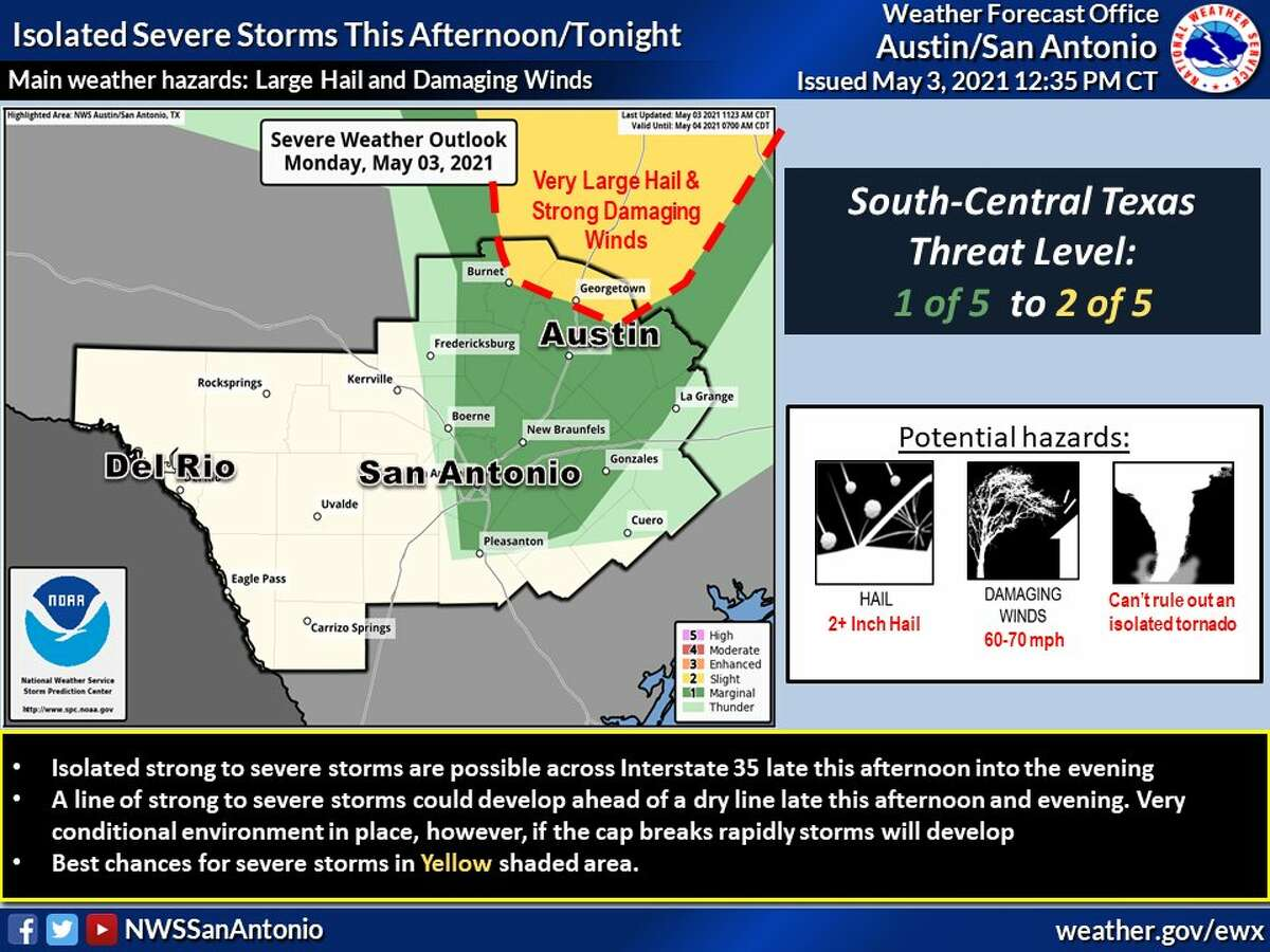 San Antonio could see another round of storms Monday afternoon into the evening hours, forecasters say.