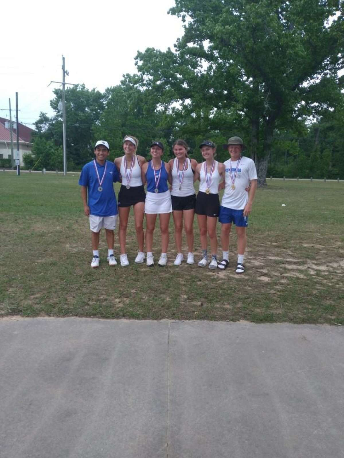 Friendswood tennis competing in the state tournament Thursday in San Antonio (left to right) Enrique Castillo, Leah Block, Adri McElwain, Elle Moss, Quinn Radtke and Carson Crow.